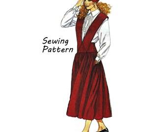 Cavalier de 4977 femme McCall avec bretelles, non-coupe chemise Button-Down et jupon taille 8 buste 31,5 po / 80cm à coudre modèle 1990