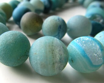 Agate Druzy Beads 12mm Sparkling Smooth Matte Aqua Rounds - 8 in Strand
