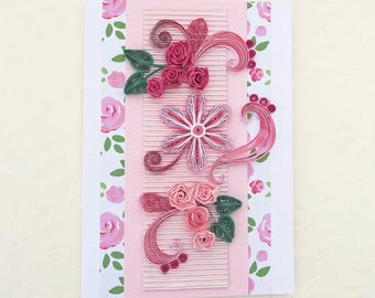 Paper Quilling Card,Pink Roses Card, Paper Quilled Crimson Flowers, Birthday, Floral Art, Mom, Florist Card,Mothers Day, Thinking Of You