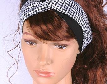 Turban Headband, Women's Headband, Girl's Headband, Hair Accessories, Houndstooth Fabric, AnnabelsAccessories, Black and White Houndstooth