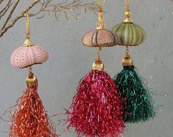Green, Pink or Orange Shiny Sea Urchin Ornament, Tassel Home Decor, Sea Urchin Ornament