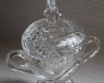 """Vintage Faceted Crystal Candy Dish 8"""" High"""