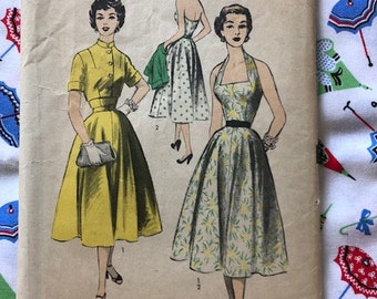 Vintage 1950s Advance Sewing Pattern 6393 Sz 12 Halter Dress and Bolero Jacket