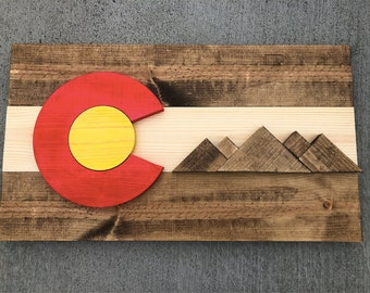 Rustic stained colorado flag