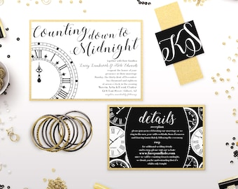 New Years Eve Wedding Invitations - Black & Gold Glitter Invitations