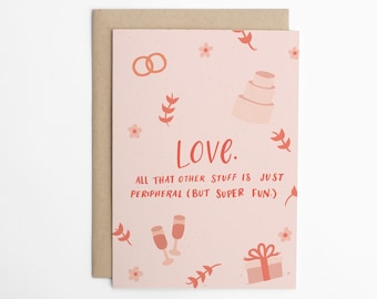 Funny Wedding Card - Love, Funny Card for Couple, Funny Engagement Card, Card for Couple, Wedding Card/C-316