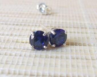 Blue Sapphire Stud Earrings Sterling Silver Lab Created 6mm September Birthstone