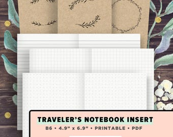 B6 TN Inserts | Travelers Notebook Printable Inserts | Bullet Journal, Dot Grid, Graph Paper, Line Paper, Bujo Setup, Instant Download