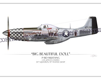 "P-51 Mustang - ""Big Beautiful Doll"" John Landers WW2 Aviation Warbird Art Print"