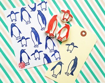 penguin family rubber stamp set | animal stamps | diy christmas card making | winter crafts | gift for kids | hand carved by talktothesun