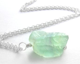 Seafoam Green Fluorite Pendant, Natural Stone Jewelry, Raw Uncut Gemstone
