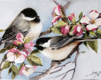 Chickadees In Apple Blossoms Print Of Watercolor