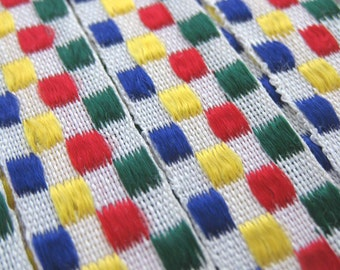 1 Yard of Colorful Checkered Vintage Ribbon Trim 1/2 Inch Wide