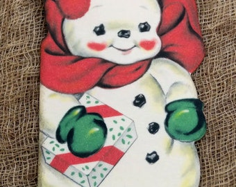 Retro Snowman Christmas Gift or Scrapbook Tags #451