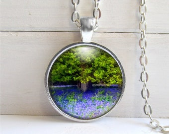Nature Lovers Necklace, Forest Pendant, Bluebells