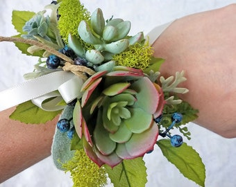 Blue Berry & Moss Succulent Wrist Corsage with Boutonniere