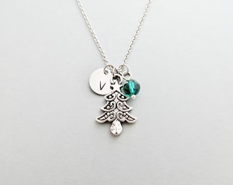 Christmas Tree Initial Necklace Personalized Hand Stamped - with Silver Christmas Tree Charm and Custom Bead