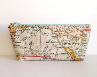 World Map Expedition, zippered pouch, zippered bag, a cosmetic bag, makeup case, organizing bag