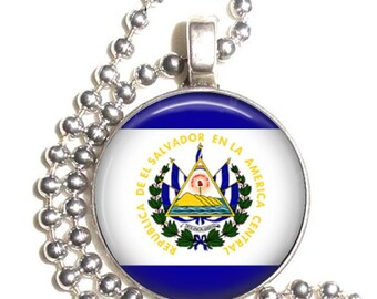 El Salvador Flag, Altered Art Pendant, Earrings and/or Keychain, Round Photo Silver and Resin Charm Jewelry, Flag Earrings, Flag Key Fob
