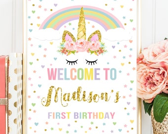 Unicorn Welcome Sign, Birthday Welcome Sign, Unicorn Birthday Welcome Sign, Magical Unicorn Printable Personalized Welcome Sign, ANY AGE