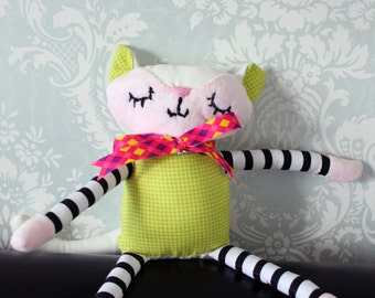 Pink and White Cat Plush Toy