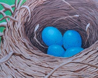 Original acrylic painting of robins nest