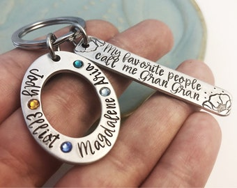 Mother's Day Oval Keychain ~ Birthstone ~ Personalized Washer Key Chain ~ Names ~ Family ~ Grandmother Gift ~ My favorite people call me