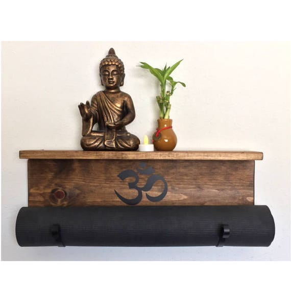 Wall Mounted Yoga Mat Holder Yoga Mat Holder Yoga Mat Rack Yoga Mat Display Exercise Room Decor Fitness Room Accessories Meditation Room Om by Etsy
