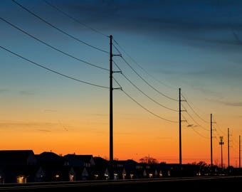 Sunset over Train Tracks and Powerlines - 13 inch by 19 inch Photo Orange and Blue
