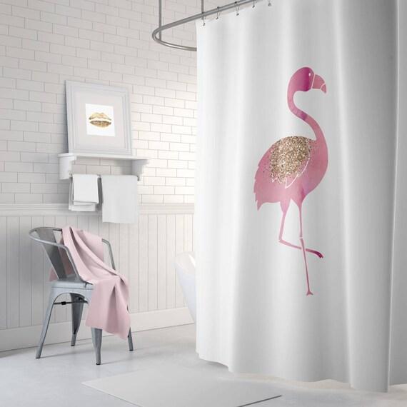 Flamingo douchegordijn roze badkamer inrichting rose goud