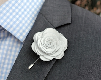Fuchsia lapel pin mens lapel flower fuchsia big white leather lapel rose pin mens lapel flower stick pin white lapel wedding boutonniere lapel boutonnierewhite rose boutonnniere mightylinksfo