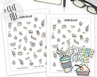 Printable Rainbow Coffee Stickers, Pastel Coffee Planner Stickers, Bullet Journal Stickers, Functional Stickers, Coffee Cup Stickers, Cute