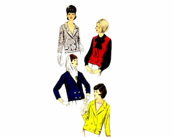 1960s Misses Double Breasted Jacket Vogue 6233 Vintage Sewing Pattern Size 12 Bust 32 UNCUT