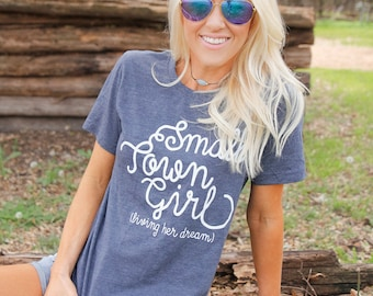 Small Town Girl Living Her Dream Tee, womens T Shirt, graphic T Shirt, vintage T shirt, T shirt gift, Gift for her, Baseball tee