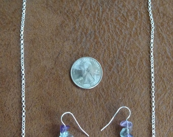 Fluorite Curved Bar Necklace on Sterling Silver with Silver-filled Rolo Chain, with Earrings - Genuine Natural Gemstone - Jewelry Set