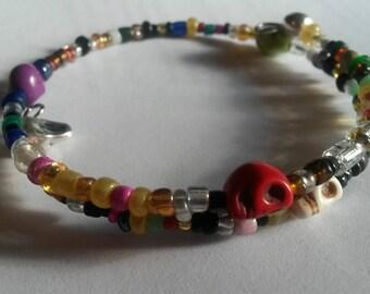 Memory wire bracelet- Mini Skulls