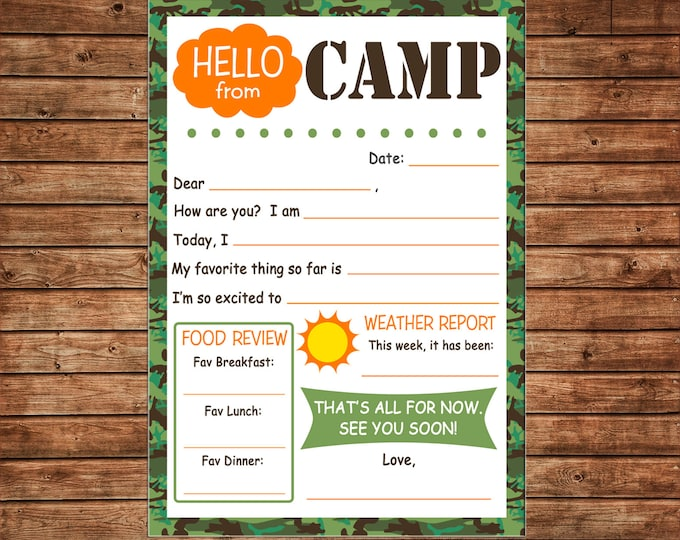Boy Camp Notecards Note Fill in the blank Hello Letter Camo - DIGITAL FILE - Immediate DOWNLOAD