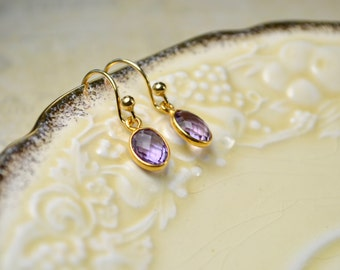 Amethyst Gold Earrings, Purple Gemstone Earrings, February Birthstone Earrings, Drop Earrings, Amethyst Jewelry, Birthstone Gifts for Women