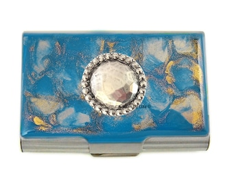 Bejeweled Large Business Card Case Inlaid in Hand Painted Enamel Turquoise with Gold Quartz Inspired with Personalized and Color Options