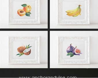 DIGITAL DOWNLOAD // Fruit Watercolor Prints  // Watercolor Art Print, Fruits, Poster, Art, Watercolor, Framed Prints, Wall Decor, Home Decor