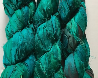 Jade Recycled Sari Silk Ribbon Yarn, Green, 3.5 oz / 100 grams, 55 yards, Upcycled, Bulky, Crochet, Knit, Jewelry, Craft, Weave