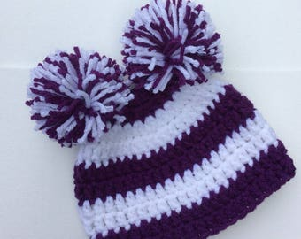 Baby Girls Double Pom-Pom Dark Purple or Blue Beanie Hat