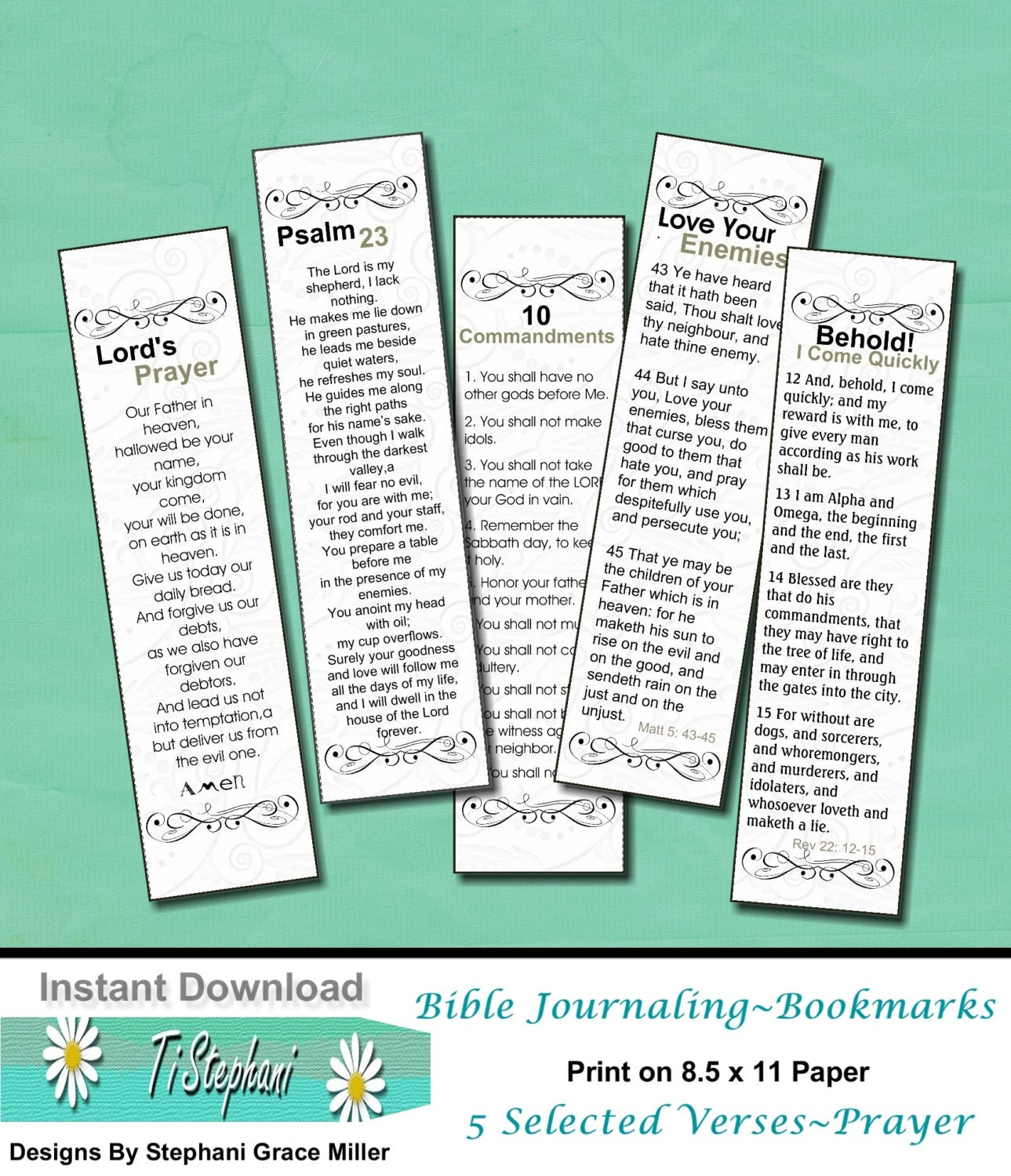 Bookmarks Scripture Prayers Bible Journaling Trace And Color