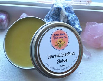 Herbal Salve for Dry Skin, Cracked Skin, Chapped Skin, Winter Skin Care, Hand Salve, Plantain, Plantago, Chickweed, Comfrey