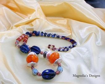 "15"" Lapis Lazuli and Amber Necklace"