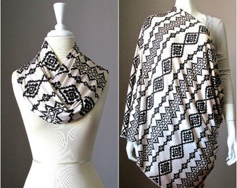 Nursing cover  scarf, nursing cover, infinity scarf,  breastfeeding cover, nursing infinity scarf, Tribal scarf