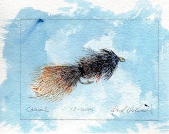 Art de pêche à la mouche - Original Art - aquarelle - tenue décontractée - Wet Fly - Made in Michigan - Michigan artiste - Fly pêche - cadre noir