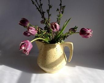 Yellow and Brown Splatter Glaze Ceramic Pitcher/Vase