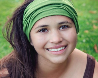 Green Ear Warmer, Grass Green Hair Band, Thick Headbands, Ear Warmer Head Wrap, Olive Green Athletic Hair Band (#1103) S M L X