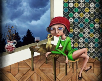 Lady with hat-40 x 40 cm Fine Art print